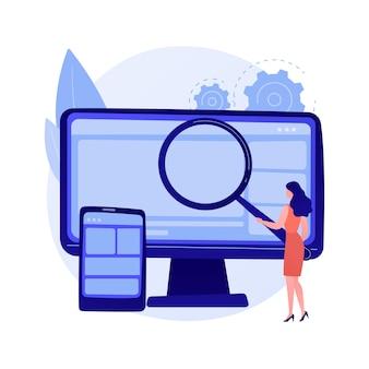 Ilustração em vetor conceito abstrato de mineração de dados. exame de dados, mineração de informações, sourcing de armazém de informações, técnica de coleta, localização de padrões, ia, metáfora abstrata de aprendizado de máquina.