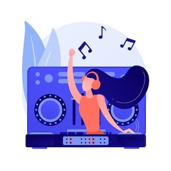Ilustração em vetor conceito abstrato de música eletrônica. dj set, curso escolar, livro de performance ao vivo, gêneros de música eletrônica, festa em boate, festival ao ar livre, metáfora abstrata da cultura rave.