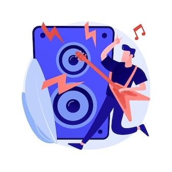 Ilustração em vetor conceito abstrato de música rock. concerto de rock and roll, cultura de festival de música rock, loja de discos, performance ao vivo, estúdio de gravação de garagem, metáfora abstrata de ensaio de banda.