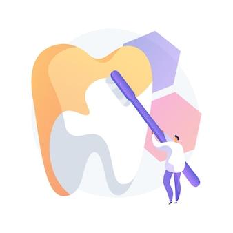 Ilustração em vetor conceito abstrato de odontologia cosmética. serviço odontológico cosmético, clareamento dos dentes, odontologia restauradora, reforma do sorriso, tratamento estético, metáfora abstrata do centro médico.