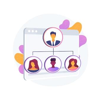 Ilustração em vetor conceito abstrato de organização. capacidade de auto-organização, organização da vida diária, gestão de negócios, planejamento de trabalho em equipe, treinamento de habilidades pessoais, metáfora abstrata de liderança.