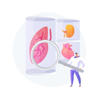 Ilustração em vetor conceito abstrato de órgãos cultivados em laboratório. células-tronco cultivadas em laboratório, órgãos bioartificiais, partes artificiais do corpo humano, transplante crescente em laboratório, metáfora abstrata de bioengenharia.