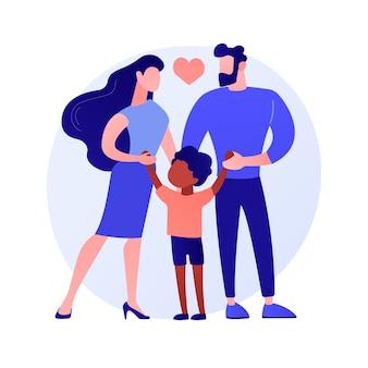 Ilustração em vetor conceito abstrato de pais adotivos. cuidar, pai em adoção, família interracial feliz, se divertindo, juntos em casa, metáfora abstrata de casal sem filhos.