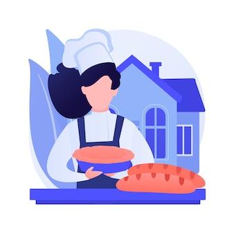 Ilustração em vetor conceito abstrato de pão de cozimento. cozinhar em quarentena, receita de família, fermento, ficar em casa, distanciamento social, alívio do estresse, assistir a um vídeo tutorial de metáfora abstrata.