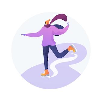 Ilustração em vetor conceito abstrato de patinação. esportes de inverno, pista de patinação no gelo ao ar livre, diversão para a família, aulas de patinação artística, estilo de vida ativo, vencedor da competição, metáfora abstrata da lâmina de skate.
