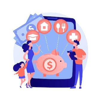 Ilustração em vetor conceito abstrato de planejamento de orçamento familiar. melhores decisões econômicas, estratégia de orçamento pessoal, gerenciamento de despesas e receitas familiares, metáfora abstrata do plano financeiro doméstico.
