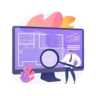 Ilustração em vetor conceito abstrato de planta baixa imobiliária. serviços on-line de planta baixa, marketing imobiliário, listagem de casas, layout de propriedade interativa, metáfora abstrata de encenação virtual.