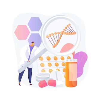 Ilustração em vetor conceito abstrato de produtos de biofarmacologia. biofarmacologia e cuidados pessoais, produto biológico, cosméticos médicos, farmácia natural, metáfora abstrata de suplemento nutricional.