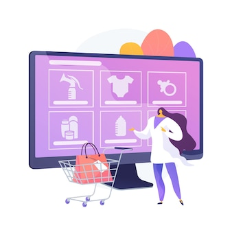 Ilustração em vetor conceito abstrato de produtos de cuidado de maternidade. produtos especiais para maternidade, cosméticos naturais saudáveis, produtos de cuidados limpos para gestantes, metáfora abstrata de tratamento de pele de recém-nascidos.
