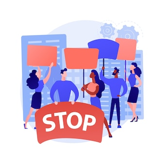 Ilustração em vetor conceito abstrato de protesto em massa. manifestação, motins violentos, movimento social, direitos políticos, igualdade racial, aplicação da lei, ativista político, metáfora abstrata de democracia.