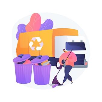 Ilustração em vetor conceito abstrato de remoção de lixo. manutenção da casa, serviço de jardinagem, limpeza de detritos de outono, eliminação de resíduos de quintal, demolição de galpão, metáfora abstrata de projeto de paisagismo.