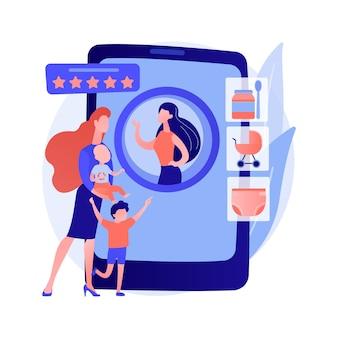 Ilustração em vetor conceito abstrato de serviços de babá. aplicativo de babá, serviços pessoais de puericultura, babá confiável, babá segura durante a quarentena, ajuda 24 horas com metáfora abstrata de crianças.