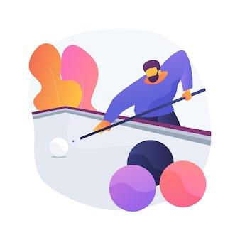 Ilustração em vetor conceito abstrato de sinuca. cronograma mundial de sinuca, taco biliar, jogo de sinuca, esporte recreativo, esporte profissional, aluguel de equipamento, metáfora abstrata de mesa de compra.