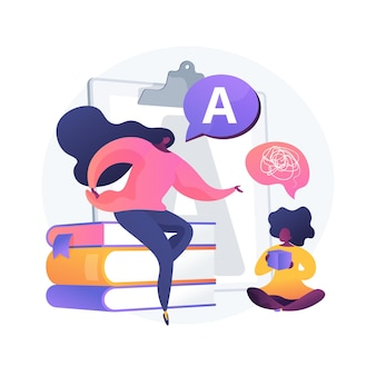 Ilustração em vetor conceito abstrato de terapia da fala. fonoaudiologia, melhorar a linguagem, atraso de desenvolvimento, tratamento de deficiência de fala, exercício de língua em casa metáfora abstrata.