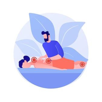 Ilustração em vetor conceito abstrato de terapia de massagem profissional. terapia de esporte profissional, tratamento de lesões por massagem, serviços de bem-estar, relaxamento de spa, metáfora abstrata de medicina alternativa.