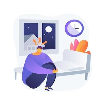 Ilustração em vetor conceito abstrato de transtorno de comportamento do sono. diagnóstico de distúrbios do sono, comportamento do sono, problema rem, tratamento de distúrbios, movimento rápido dos olhos, metáfora abstrata de sintomas.