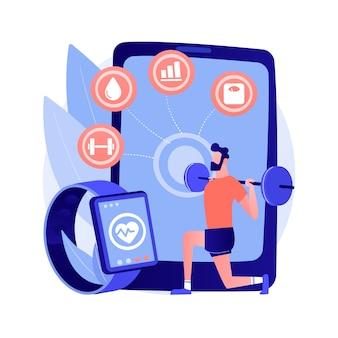 Ilustração em vetor conceito abstrato de treinamento inteligente. ferramentas e programas on-line de treinamento inteligente, nova tecnologia de ginástica, aplicativo de treinamento de aptidão, melhora a saúde, perda de gordura, tonificação metáfora abstrata.
