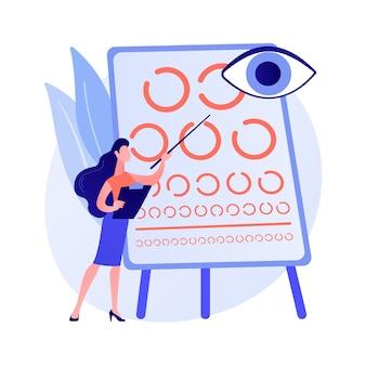 Ilustração em vetor conceito abstrato de triagem de visão. serviço de teste de visão, prescrição de óculos, diagnóstico de distúrbio ocular, teste de acuidade, atendimento primário na escola, metáfora abstrata de exame pediátrico.
