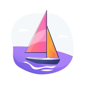 Ilustração em vetor conceito abstrato de vela. barco à vela, esporte aquático, iate clube, aventura de verão, viagem romântica, vencedor da competição, ilha do mar, navegação oceânica, metáfora abstrata de transporte.