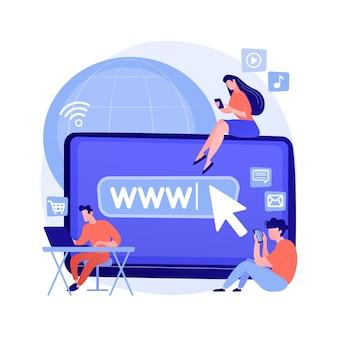 Ilustração em vetor conceito abstrato de vício em internet. substituição na vida real, desordem on-line viva, vício em web, comportamento viciante digital, uso excessivo de internet, metáfora abstrata de mídia social.