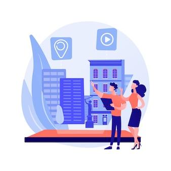 Ilustração em vetor conceito abstrato de visualização de design interativo. visualização interativa, arquitetura de virtualidade, experiência do usuário de realidade virtual, metáfora abstrata de design de interação.