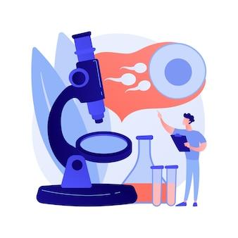Ilustração em vetor conceito abstrato diagnóstico de infertilidade. causas de infertilidade feminina, diagnóstico de disfunção reprodutiva masculina, exame médico de esterilidade, metáfora abstrata de planejamento familiar.