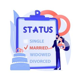 Ilustração em vetor conceito abstrato do estado civil. estado civil, relacionamento de pessoas, solteiro, casado, caixa de seleção, estado civil, alianças, casal, divorciado, viúvo, metáfora abstrata.