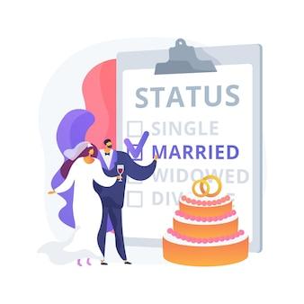 Ilustração em vetor conceito abstrato do estado civil. estado civil, relacionamento de pessoas, solteiro casado, caixa de seleção, estado civil, alianças, casal, divorciado, viúvo, metáfora abstrata.