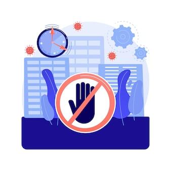 Ilustração em vetor conceito abstrato do toque de recolher. protesto público, manifestação, agitação em massa, multidão de rua, reunião, vandalismo e pilhagem, metáfora abstrata de violação de regra de restrição em casa.