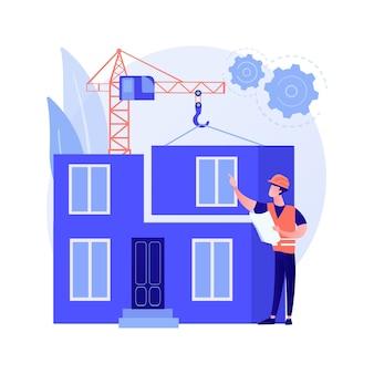 Ilustração em vetor conceito abstrato em casa modular. edifício modular, construção de fundação permanente, transporte de componentes residenciais pré-fabricados, metáfora abstrata de tecnologia de pegada verde.