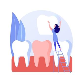 Ilustração em vetor conceito abstrato folheados dentais. colocação de folheado, solução de beleza dentária, estética dos dentes, serviço de odontologia estética, clínica ortodôntica, metáfora abstrata do sorriso de celebridade.