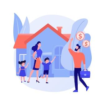 Ilustração em vetor conceito abstrato ganha-pão. ganhe dinheiro, trabalhe em casa, empresário marido, mãe, pai trabalhadora, família precisa de apoio, trabalho freelance, metáfora abstrata de esposa dona de casa.