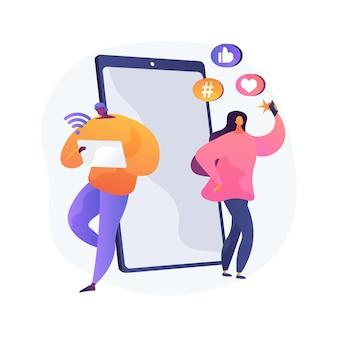 Ilustração em vetor conceito abstrato geração z. mundo hiperconectado, infância com tablet, dispositivo móvel, mídia social, banco móvel, finanças pessoais, metáfora abstrata de jovens.