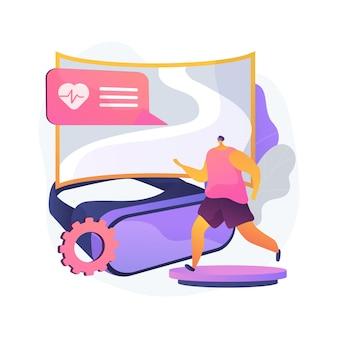 Ilustração em vetor conceito abstrato ginásio vr fitness. sistema de treinamento de realidade virtual, nova tecnologia de condicionamento físico, aproveite seu treino, nova maneira de entrar em forma, metáfora abstrata de experiência de imersão total.