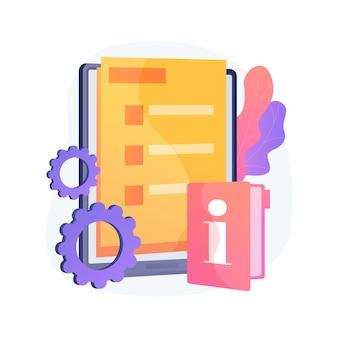 Ilustração em vetor conceito abstrato guia de serviço ao cliente. tutorial de atendimento ao cliente, manual de treinamento de excelência, dicas para funcionários, guia de implementação, metáfora abstrata de informações educacionais.