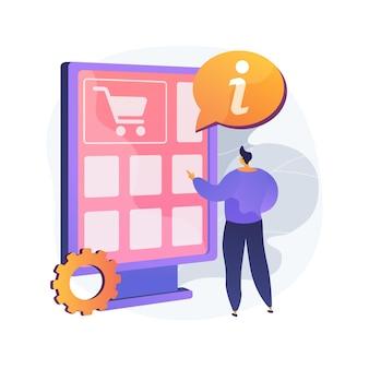 Ilustração em vetor conceito abstrato guia digital. aplicativo de guia móvel, tour interativo, manual do usuário, ajuda ao cliente, brand book, solução de problemas, metáfora abstrata de distribuição de informações.