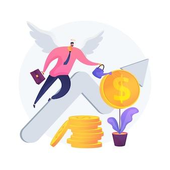 Ilustração em vetor conceito abstrato investidor anjo. apoio financeiro de inicialização, ajuda de consultoria profissional de inicialização de negócios, arrecadação de fundos, crowdfunding online, metáfora abstrata de capital de investimento.