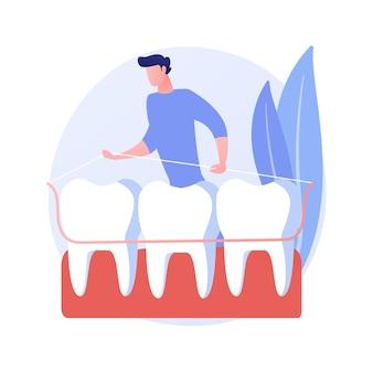 Ilustração em vetor conceito abstrato placa dentária. placa dentária unitária, atendimento odontológico, prótese total e parcial, substituição de dentes perdidos, metáfora abstrata de aparelho ortodôntico.