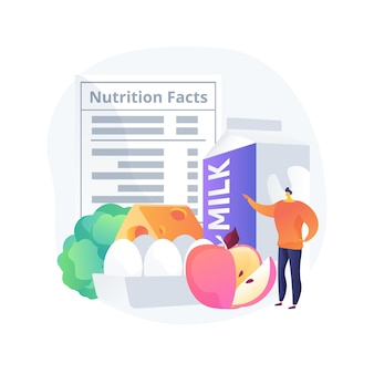 Ilustração em vetor conceito abstrato qualidade nutricional alimentar. valor nutricional, manutenção da saúde, metabolismo humano, pecuária de alimentos orgânicos, inspeção de qualidade e certificação metáfora abstrata.