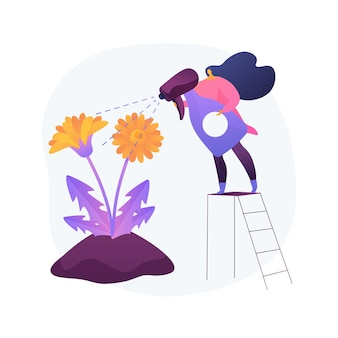 Ilustração em vetor conceito abstrato remoção de dente de leão. manutenção de jardins, gramado sem ervas daninhas, uso seletivo de herbicidas, jardinagem orgânica, sementes de grama, corte de grama, metáfora abstrata de quintal.