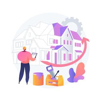 Ilustração em vetor conceito abstrato renovação de casa. sugestões e ideias de remodelação de propriedade, serviços de construção, comprador potencial, lista de casas, metáfora abstrata do projeto de design de renovação.