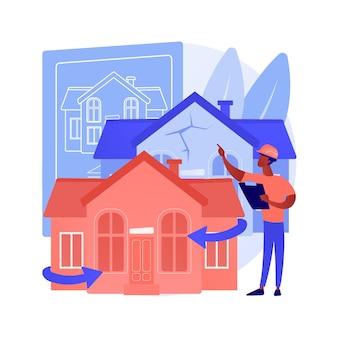 Ilustração em vetor conceito abstrato renovação de casa. sugestões e ideias de remodelação de propriedades, serviços de construção, comprador potencial, lista de casas, metáfora abstrata do projeto de design de renovação.