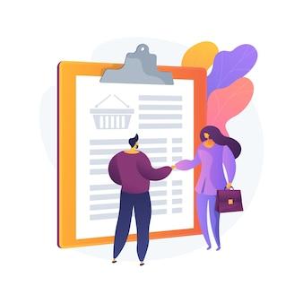 Ilustração em vetor conceito abstrato representante de vendas. agente de vendas b2b, telemarketing, representante comercial, marketing direto, função de desenvolvimento de negócios, metáfora abstrata de posição de trabalho.