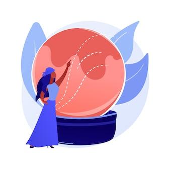 Ilustração em vetor conceito abstrato revelando fortuna. cartomante online, serviços de leitura de tarô, previsão do futuro de bola de cristal, especialista em numerologia, metáfora abstrata de prática quiromante.
