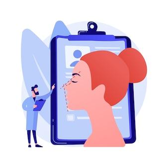 Ilustração em vetor conceito abstrato rinoplastia. procedimento de correção do nariz, rinoplastia não cirúrgica, alteração da forma do nariz, problemas respiratórios, remodelação estética, metáfora abstrata dos riscos.