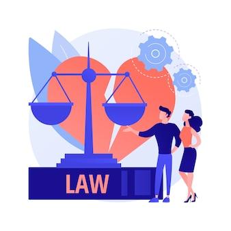 Ilustração em vetor conceito abstrato serviço advogado divórcio. advogado de família, processo de divórcio, consulta de serviço jurídico, auxílio a firma de advocacia, pensão alimentícia, metáfora abstrata de conselho de escrituras de bens de vida.
