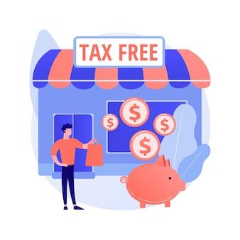 Ilustração em vetor conceito abstrato serviço isento de impostos. comércio livre de iva, serviços de reembolso de iva, zona franca, compras em aeroportos, compra de bens no exterior, metáfora abstrata do programa de reembolso de impostos.