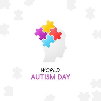 Ilustração em vetor conceito autismo com cabeça de criança