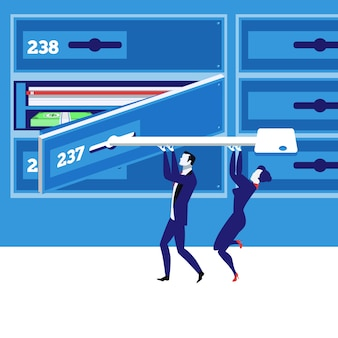 Ilustração em vetor conceito caixa de depósito bancário em estilo simples.