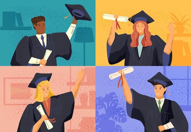 Ilustração em vetor conceito cerimônia de formatura on-line virtual. os alunos se formam por videochamada durante a quarentena de coronavírus. graduados em vestidos e chapéus na tela do computador.